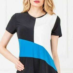 DKNY Top Blouse Asymmetrical Black White Blue Sz S